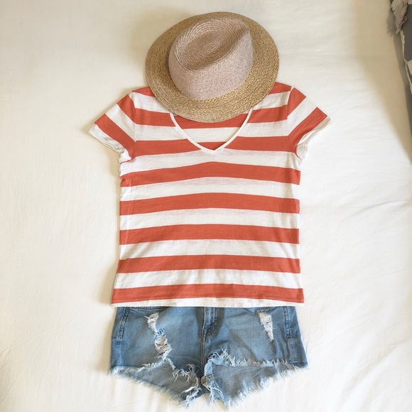 9d367eec18ee Petit Bateau Tops | Coral And White Striped Cotton Tee | Poshmark